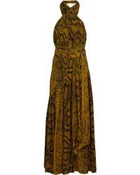 Proenza Schouler Robe midi imprimée en crêpe de soie - Marron