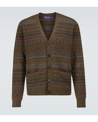 Ralph Lauren Purple Label Cardigan Fairisle aus Kaschmirgemisch - Braun
