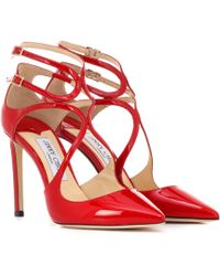 Jimmy Choo Lancer 100 Patent Leather Court Shoes - Red