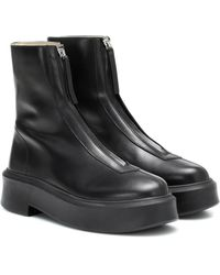 The Row Ankle Boots Zipped 1 aus Leder - Schwarz