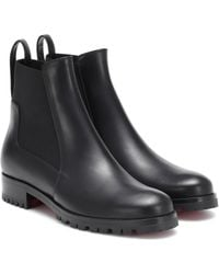 Christian Louboutin Marchacroche Leather Ankle Boots - Black