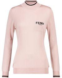 Fendi Logo Silk Turtleneck Sweater - Pink