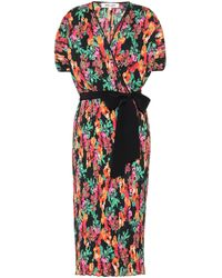 Diane von Furstenberg Autumn Watercolor-print Midi Dress - Multicolour