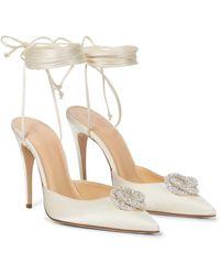 Magda Butrym Embellished Satin Court Shoes - White