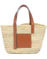 Loewe Medium Leather-trimmed Basket Tote - Multicolor