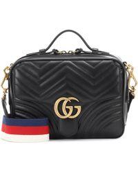 Gucci Bolso de Hombro GG Marmont de Matelassé - Negro