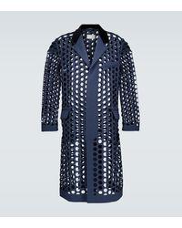 Maison Margiela Perforated Wool-blend Coat - Blue