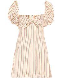 Attico - Striped Off-the-shoulder Minidress - Lyst