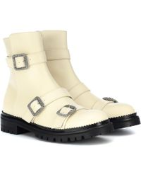 Jimmy Choo Hank Triple-strap Leather Moto Boots - Natural