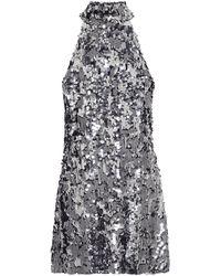 Galvan London Vestido corto Gemma con lentejuelas - Metálico