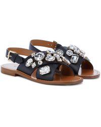 Marni Embellished Leather Slingback Sandals - Black