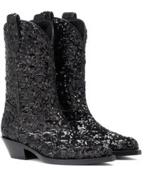 Dolce & Gabbana - Sequined Cowboy Boots - Lyst