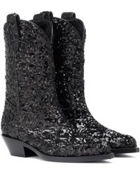 Dolce & Gabbana Sequined Cowboy Boots - Black