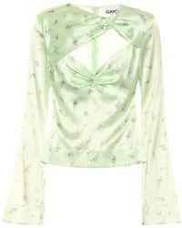 Ganni Floral Stretch-satin Top - Green