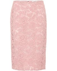 Valentino - Cotton-blend Lace Skirt - Lyst