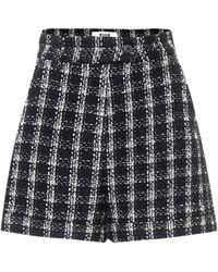 MSGM Checked Cotton-blend Tweed Shorts - Black