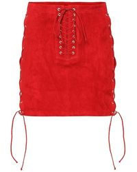 Unravel Project Minigonna in suede - Rosso