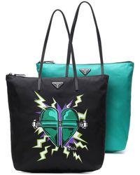 Prada Set di 2 borse in gabardine di nylon - Nero