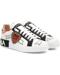 Dolce & Gabbana Printed Calfskin Nappa Portofino Trainers With Embroidery - White