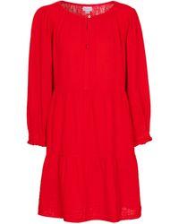 Velvet Robe Mirella en coton - Rouge