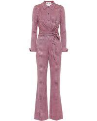 Diane von Furstenberg Michele Printed Silk Jersey Jumpsuit - Multicolor