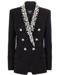 Balmain Embellished Wool Blazer - Black