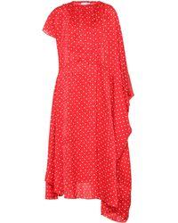 Balenciaga Polka-dot Silk Midi Dress - Red