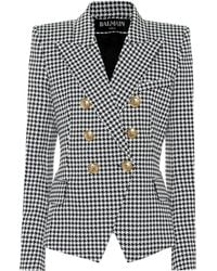 Balmain - Double Breasted Houndstooth Cotton Blend Blazer - Lyst