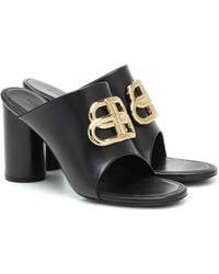 Balenciaga Bb Leather Sandals - Black
