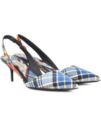 Burberry - Annice Mid Height Tweed Slingback Court Shoes In Poppy Orange Cotton And Leather - Lyst