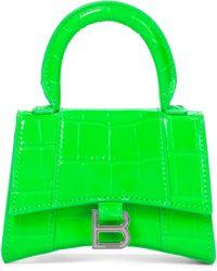 Balenciaga Hourglass Mini Leather Tote - Green