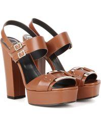 Roger Vivier - Embellished Leather Sandals - Lyst