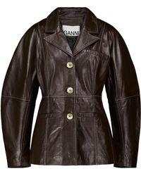 Ganni Leather Blazer - Brown