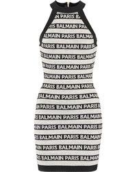 Balmain Paris Logo Striped Dress Beige/black