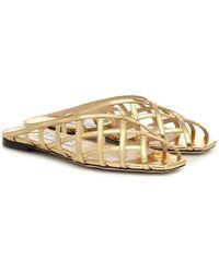 Jimmy Choo Sai Metallic Leather Sandals