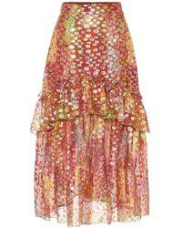 Dundas Silk-blend Jacquard Midi Skirt - Multicolour