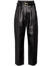 Petar Petrov Pollis B Belted High-rise Leather Trousers - Black