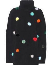 Fendi Fur-trimmed Cashmere Sweater - Black