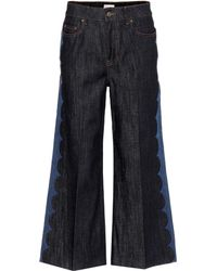 RED Valentino - Wide-leg Cropped Jeans - Lyst