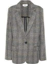 Étoile Isabel Marant Charly Checked Wool Blazer - Gray