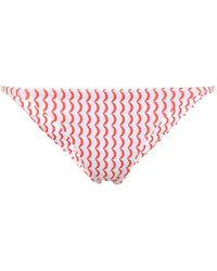 Asceno Biarritz Wave-print Bikini Bottoms - Red