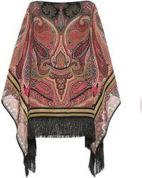 Etro Poncho in seta a stampa - Multicolore
