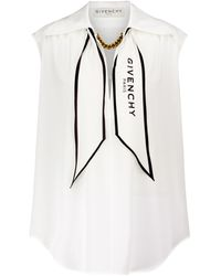 Givenchy - Chain-trimmed Silk Top - Lyst