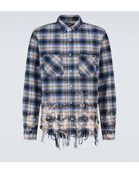 Amiri Bleached Flannel Shirt - Blue