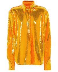 Alex Perry Camisa Tyler con lentejuelas - Naranja