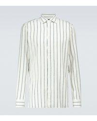 Lardini Camisa en mezcla de lino de rayas - Neutro