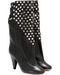 Isabel Marant Lafkee Studded Leather Boots - Black