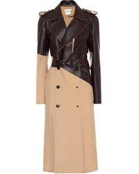 Bottega Veneta Leather And Wool-gabardine Trench Coat - Natural