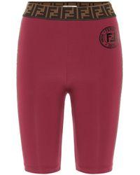 Fendi Ff Biker Shorts - Red