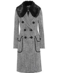 Dolce & Gabbana Fur-trimmed Wool Coat - Grey